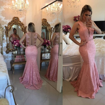 Luxury Sleeveless Lace Evening Dress UK Mermaid Party Gowns BMT BA9607_3