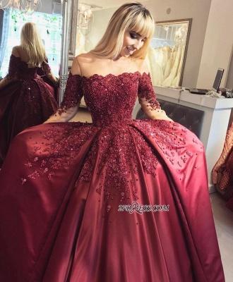 Crystal Appliques Long-Sleeves Off-the-Shoulder Burgundy Ball Prom Dress UKes UK_3