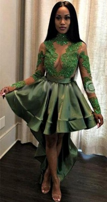 Green Hi-Lo Prom Dress UK   Long Sleeve Evening Party Gowns_1
