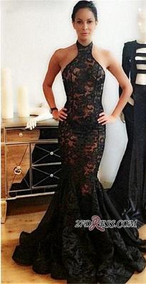 Black Popular Backless Mermaid Lace Halter Prom Dress UK_2