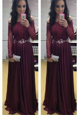 Stunning Long Sleeve Off-the-shoulder Evening Dress UKes UK Burgundy Lace Appliques Crystal_1