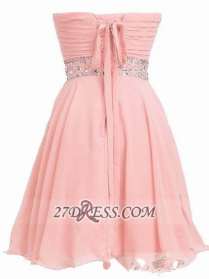 Lovely Semi-sweetheart Sleeveless Cocktail Dress UK Lace-up Crystals Chiffon Short Homecoming Gown_2