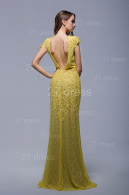 Newest Jewel Lace Appliques Evening Dress UK Open Back_3