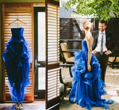 Elegant Strapless Sleeveless Royal Blue Prom Dress UK Spaghetti Strap With Ruffles_2
