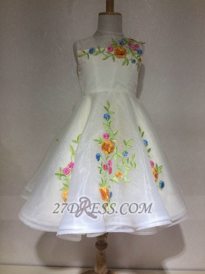 Beautiful Cinderella Embrodiary Flowers Sleeveless Flower Girl Dress_1
