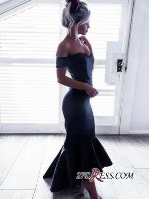 Black Off-The-Shoulder Short-Sleeves Hi-Lo Ruffle Mermaid Chic Prom Dress UKes UK_2