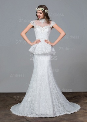 Modern Lace Tulle A-line Wedding Dress Beadss Sweep Train_1