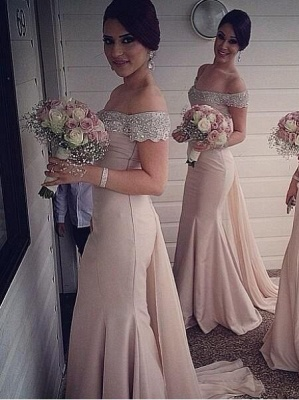 Elegant Off-the-shoulder Mermaid Bridesmaid Dress UK Beadings Sweep Train_1