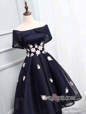 Luxury Hi-Lo Lace-up Prom Dress UK Off-the-Shoulder Party Dress UK_2