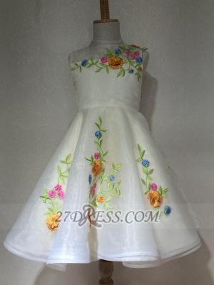 Beautiful Cinderella Embrodiary Flowers Sleeveless Flower Girl Dress_4