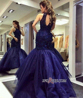 Navy-Blue Halter-Neck Beading Keyhole-Back Mermaid Long Prom Dress UKes UK BA0564_3