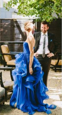 Elegant Strapless Sleeveless Royal Blue Prom Dress UK Spaghetti Strap With Ruffles_1