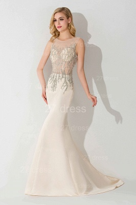 Elegant Illusion White Mermaid Evening Dress UK Sweep Train_1