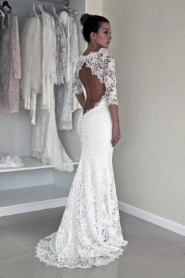Elegant Illusion Lace Sexy Mermaid Wedding Dress Half Sleeve Sweep Train_3