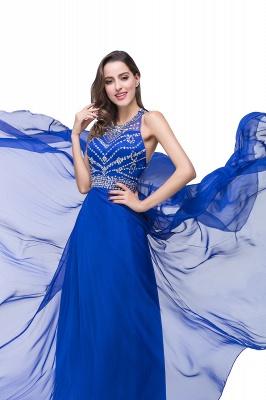 Newest Royal Blue Chiffon Prom Dress UK A-line Beadings Sweep Train_3