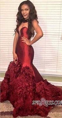 Sweetheart Mermaid Ruffles Burgundy Elegant 20017 Prom Dress UKes UK BK0_1