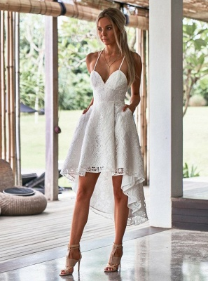 Modest Spaghetti Strap A-line Hi-lo Homecoming Dress UK | Lace Short Party Gown_4