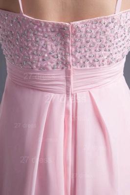 Elegant Pink Beadings Chiffon Prom Dress UK Hi-Lo Spaghetti Strap_4