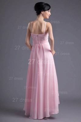 Elegant Pink Beadings Chiffon Prom Dress UK Hi-Lo Spaghetti Strap_5