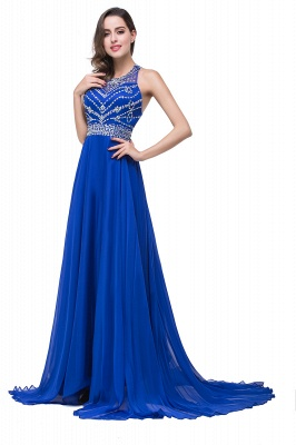 Newest Royal Blue Chiffon Prom Dress UK A-line Beadings Sweep Train_7