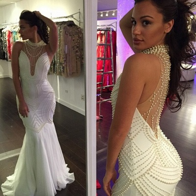 Beautiful Sleeveless Pearls Mermaid Prom Dress UKes UK Floor Length_3