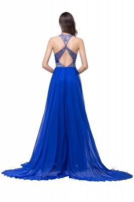 Newest Royal Blue Chiffon Prom Dress UK A-line Beadings Sweep Train_5