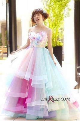 Puffy Floral Ball Princess Rainbow Strapless Gown Tiered Organza Evening Dress UKes UK_2