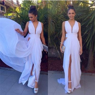 Elegant White Long Deep V-Neck Prom Dress UK Floor Length Front Split_4
