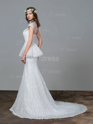 Modern Lace Tulle A-line Wedding Dress Beadss Sweep Train_3