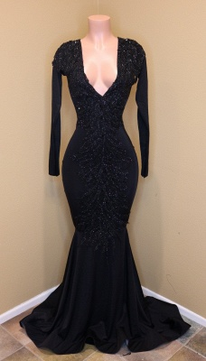 Timeless V-Neck with Sleeves Appliques Sequined Elegant Mermaid Zipper Prom Dress UKes UK UK_1