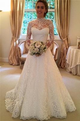 Elegant Lace A-line Wedding Dress Long Sleeve High Neck_1