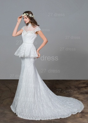 Modern Lace Tulle A-line Wedding Dress Beadss Sweep Train_2