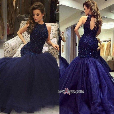 Navy-Blue Halter-Neck Beading Keyhole-Back Mermaid Long Prom Dress UKes UK BA0564_4
