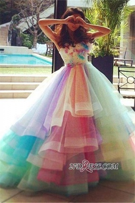 Puffy Floral Ball Princess Rainbow Strapless Gown Tiered Organza Evening Dress UKes UK_4