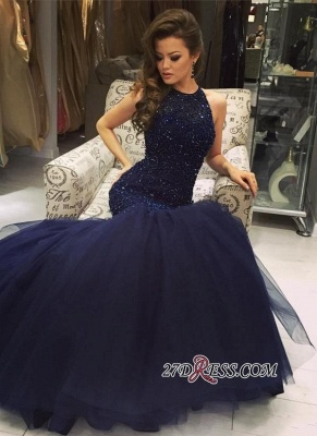 Navy-Blue Halter-Neck Beading Keyhole-Back Mermaid Long Prom Dress UKes UK BA0564_5