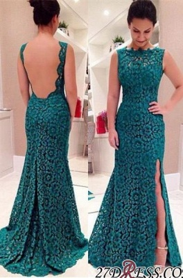 Sweep-Train Sleeveless Modest Front-Split Lace Prom Dress UK_2