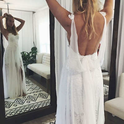 Chic Backless Lace Wedding Dresses UK Simple Side Slit Spaghetti -Strap Bridal Gowns_4