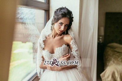 Tulle Sweetheart Lace Beadss Elegant Princess Wedding Dress_1