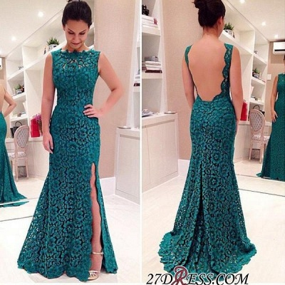 Sweep-Train Sleeveless Modest Front-Split Lace Prom Dress UK_1