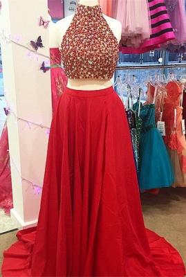Newest Two Piece Beading Prom Dress UK Front Split_3
