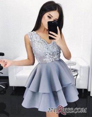 V-Neck Lace A-line Sexy Layers Sleeveless Homecoming Dress UKes UK_2