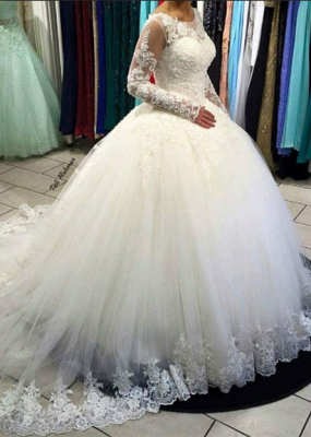 Gorgeous Long Sleeve Lace Ball Gown Tulle Wedding Dress BA5365_1