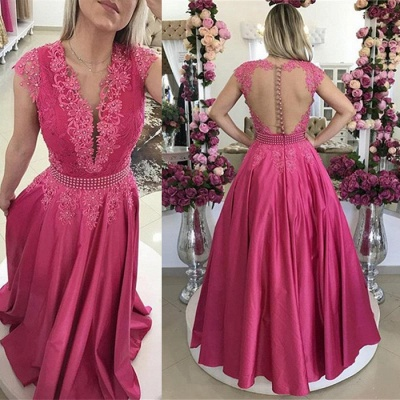 Cap Sleeve Fuchsia Lace Evening Dress UK Long On Sale BMT_3