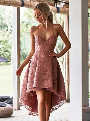 Modest Spaghetti Strap A-line Hi-lo Homecoming Dress UK | Lace Short Party Gown_1