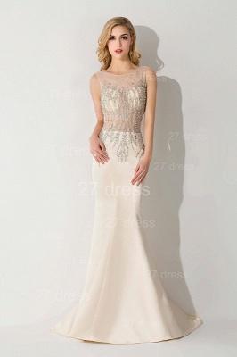 Elegant Illusion White Mermaid Evening Dress UK Sweep Train_3