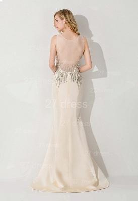 Elegant Illusion White Mermaid Evening Dress UK Sweep Train_2