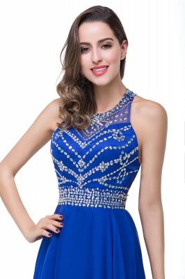 Newest Royal Blue Chiffon Prom Dress UK A-line Beadings Sweep Train_4