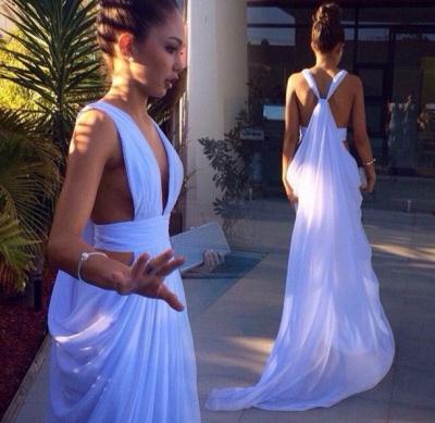 Elegant White Long Deep V-Neck Prom Dress UK Floor Length Front Split_3