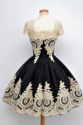 Luxury Black Cap Sleeve Homecoming Short With Lace Appliques_2