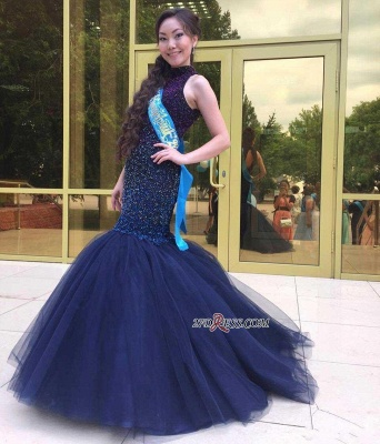 Navy-Blue Halter-Neck Beading Keyhole-Back Mermaid Long Prom Dress UKes UK BA0564_2